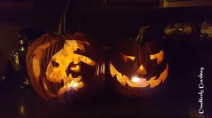 Pumpkins all lit up