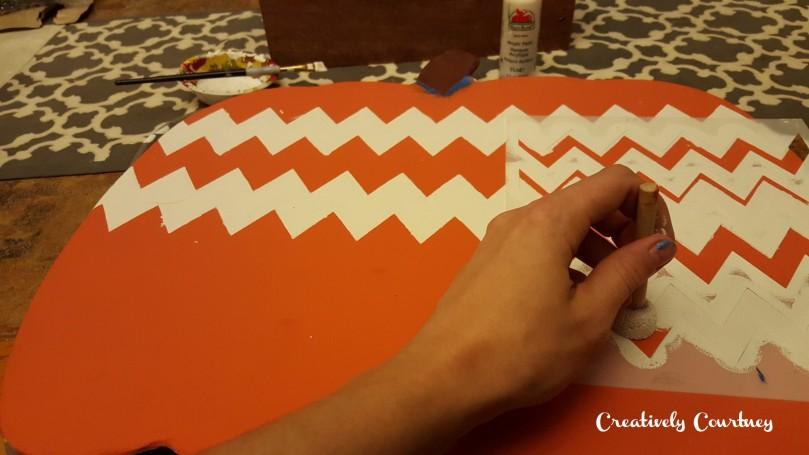 Door Pumpkin -Painting stripes 2